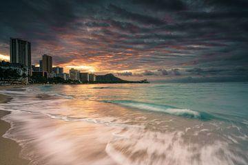 Waikiki zonsopgang van road to aloha